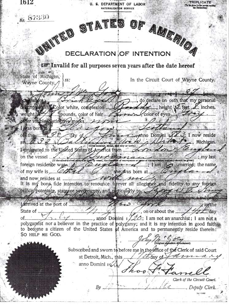 McGoey Naturalisation cert